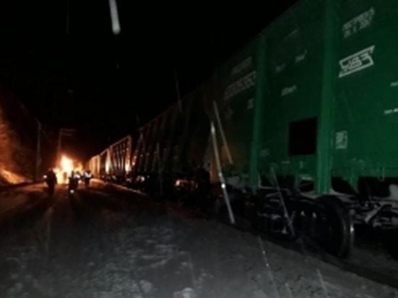 14 вагонов грузового поезда сошли с путей на станции в Забайкалье
