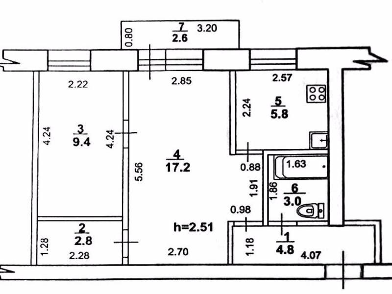 2-к квартира, 46,6 м?, 2/3эт., атамановка (заводская, 13), 1.