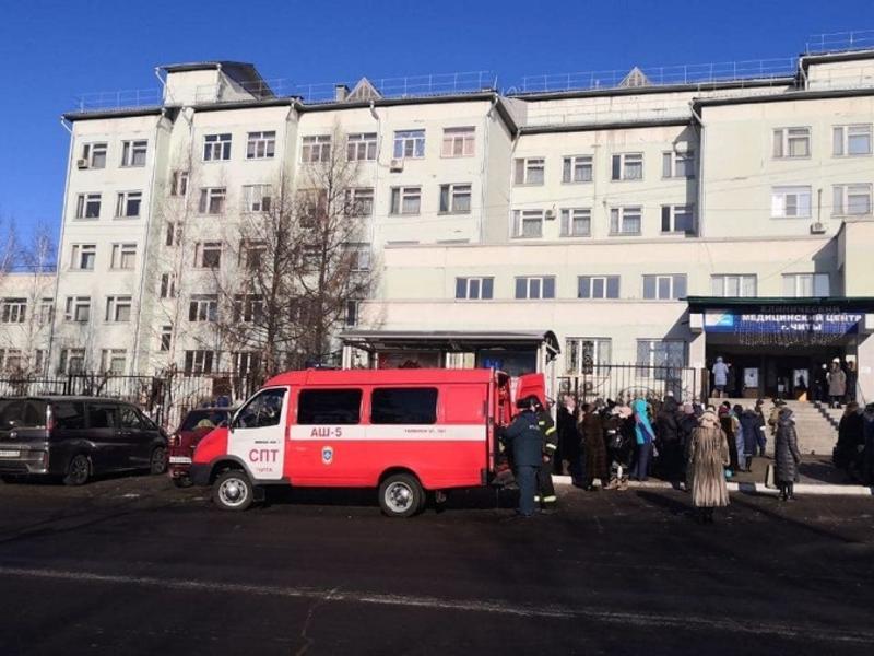 Диагностический центр в Чите эвакуировали из-за пожара в подвале