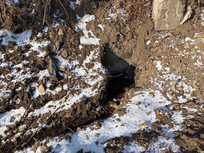 Ведется засыпка дороги по улице Логовая, замерзшей из-за бьющего ключа